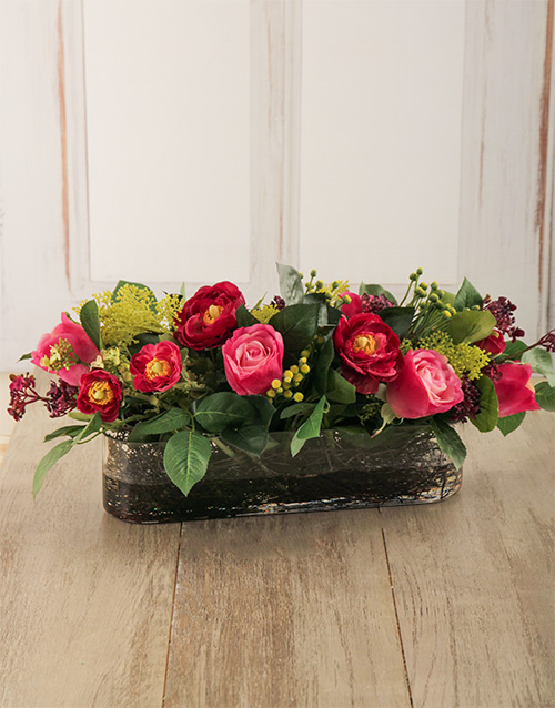 silk: Mixed Silk Flowers in a Low Vase!