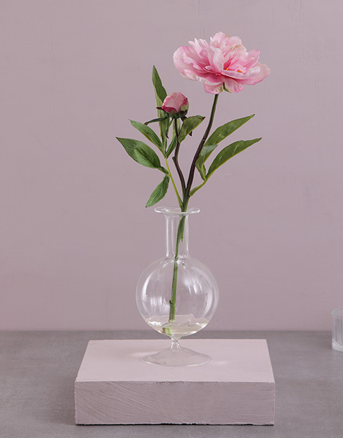 house-warming: Silk Peony in a Glass Bottle!