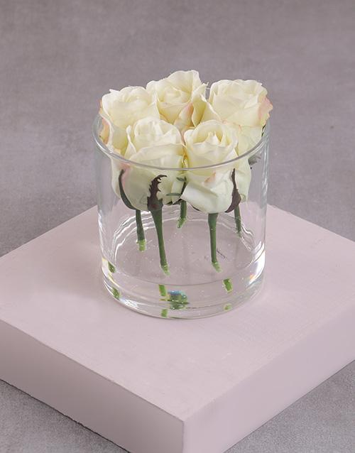 friendship: Cream Silk Rose Stems in a Clear Vase!