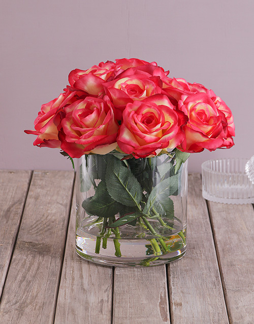 get-well: Red Silk Rose Stems in a Clear Vase!