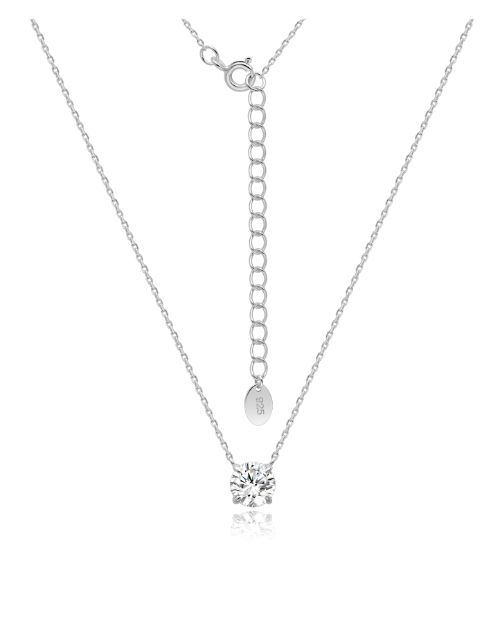 spring-day: Silver 4 Claw Round Cubic Necklace!
