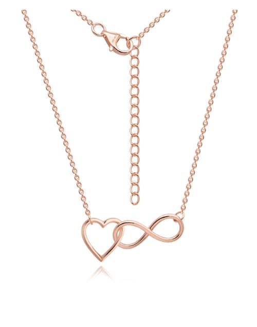anniversary: Silver Rose Open Heart Infinity Necklace!