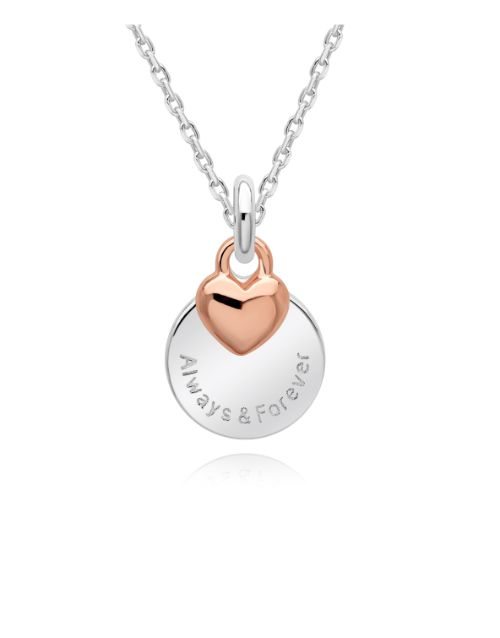 anniversary: Silver And Rose Rnd and Puff Heart Necklace!