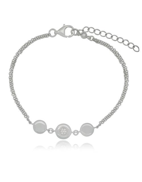 friendship: Silver Round Circle Cubic Bracelet!
