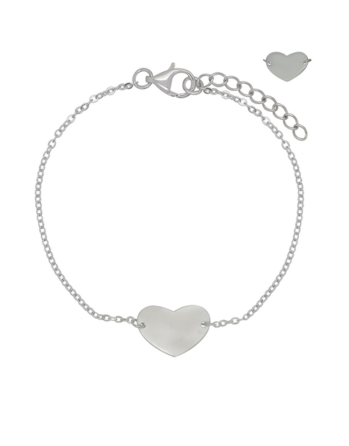sale: 925 Silver Heart Disk Bracelet!