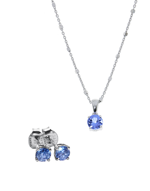 mothers-day: Silver Tanzanite 1,10ct Earring and Necklace Set!
