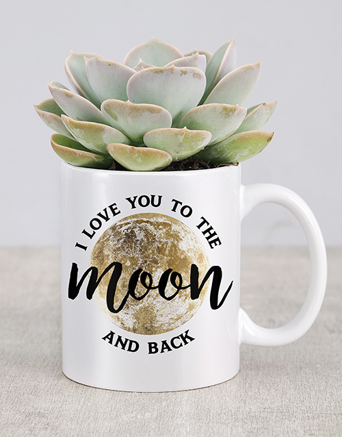 succulents: I Love You To The Moon Mug!
