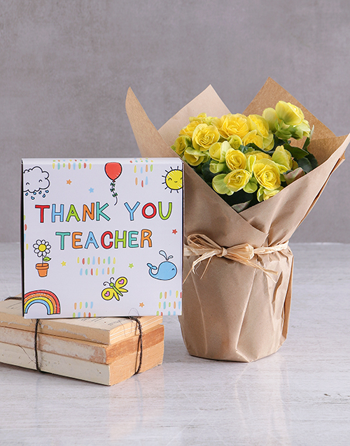 teachers-day: Yellow Begonia And Chocolate Tray For Teachers!