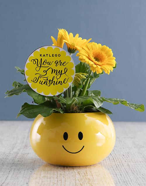 love-and-romance: Sunshine Gerbera Plant Gift In Emoji Pot!