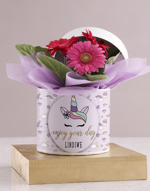 in-a-box: Personalised Unicorn Gerbera Plant Gift In Hat Box!