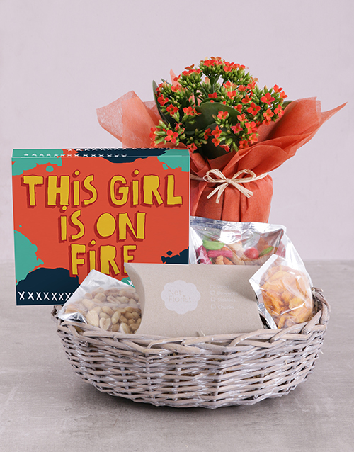 flowers: Orange Kalanchoe Gift And Gourmet Hamper!