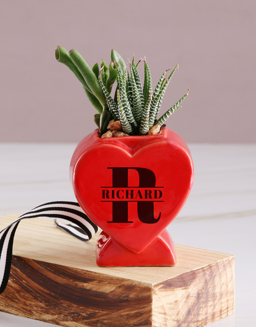 personalised: Succulent In Standing Heart!