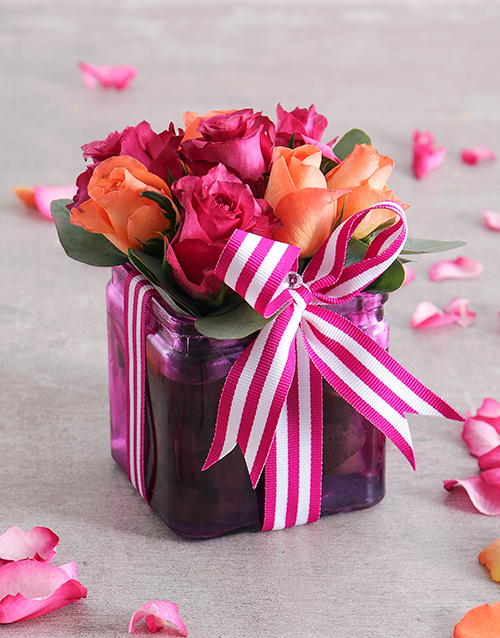 anniversary: Cerise Rose and Ribbon in a Square Vase!