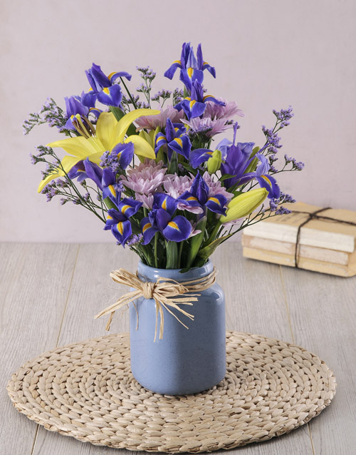 seasonal: Iris and Lily in Blue Consol Jar!