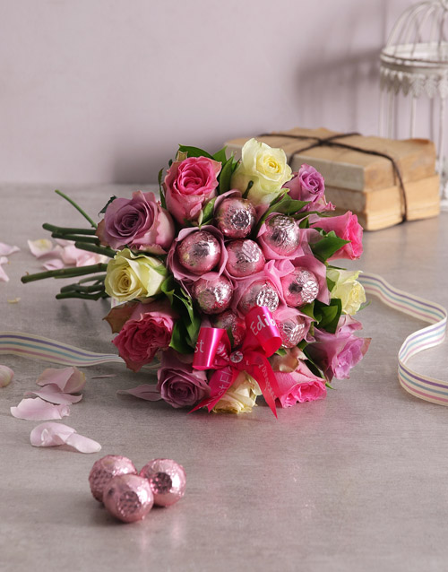 flowers: Colourful Rosy Chocolate Arrangement!
