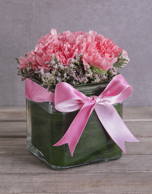 flowers: Petite Pink Carnations in a Square Vase!