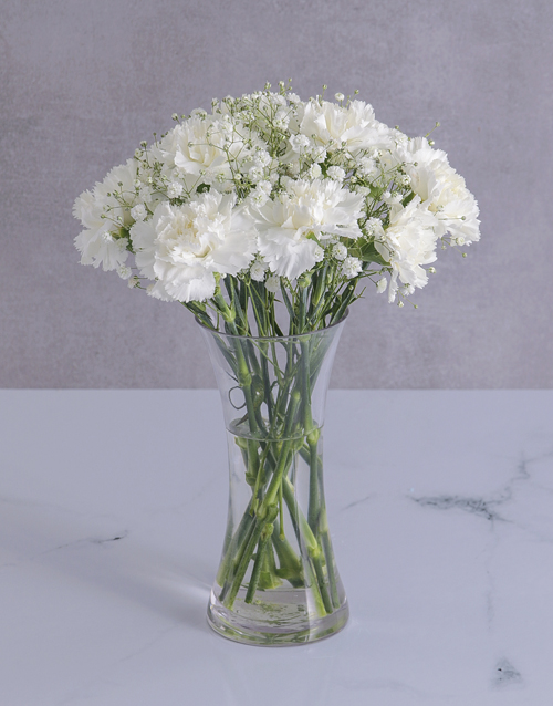 flowers: Pure White Carnations in a Flared Glass Vase!
