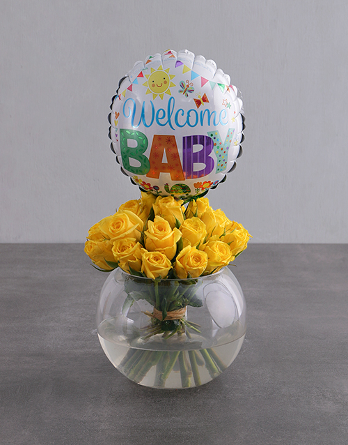 baby: Yellow Roses and Baby Balloon!