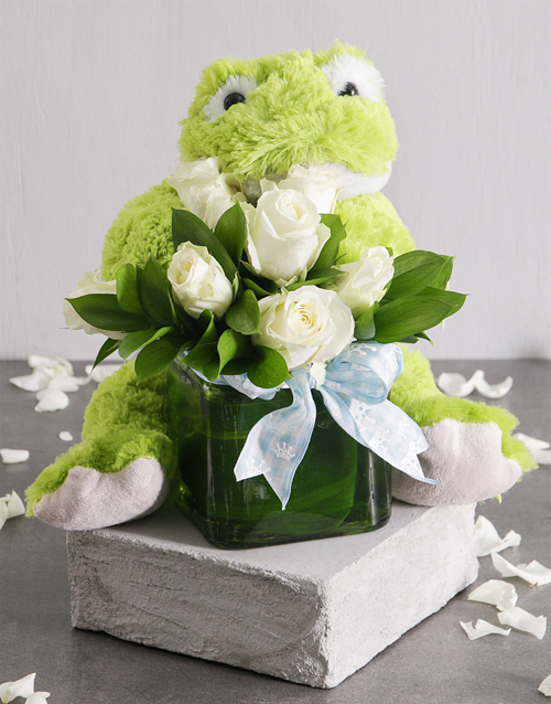 teddy-bears: White Roses and Froggie Arrangement!
