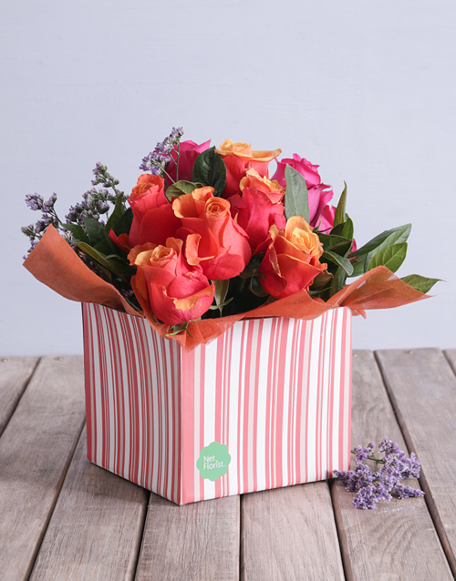 in-a-box: Cherry Brandy and Cerise Roses in a Pink Box!