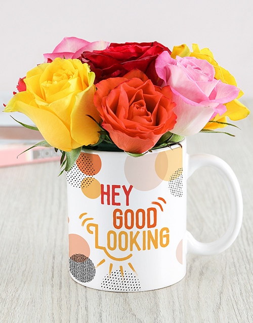 colour: Hey Good Looking Floral Mug!