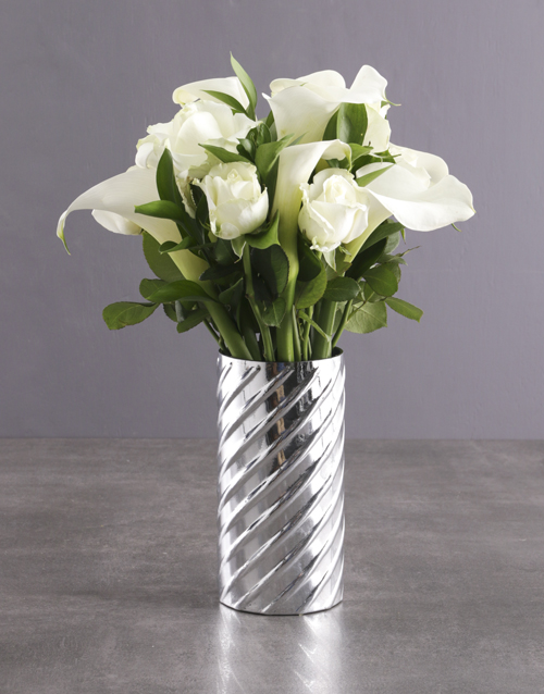 flowers: White Lilies in Silver Twirl Vase!