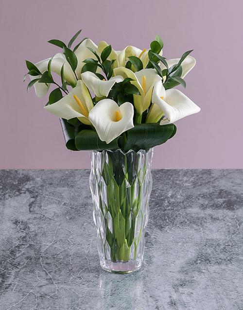 vase: White Lilies in Crystal Vase!