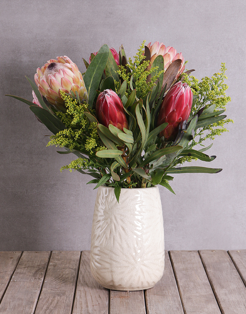 pottery: Proteas in Cylinder Ceramic!