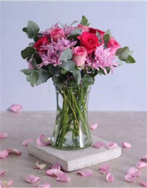 baby: Pink Florals in Tall Vase!