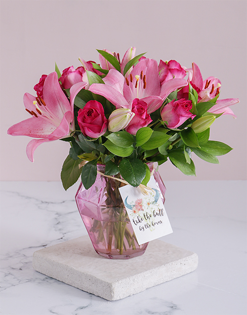 colour: Cerise Florals In A Soft Pink Vase!