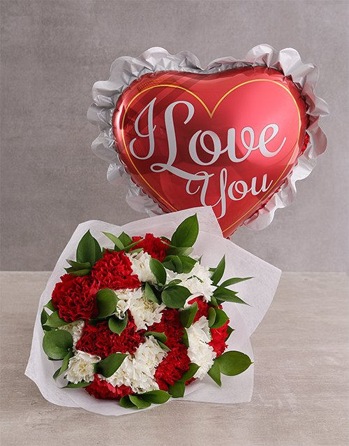 bouquets: Carnations and Love Balloon!