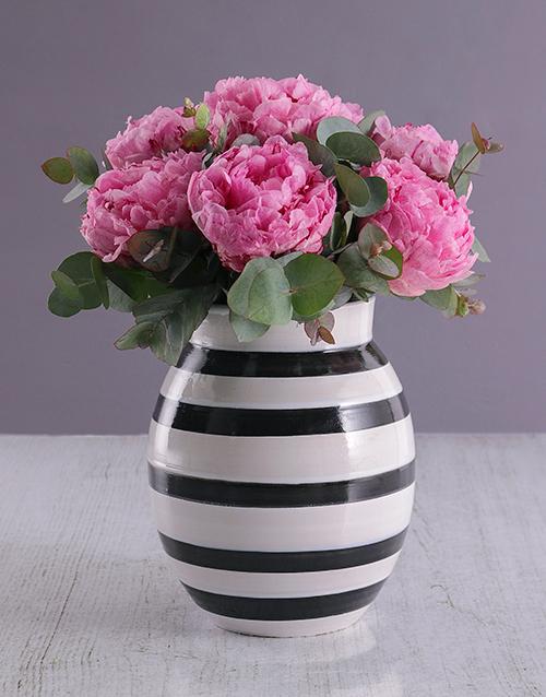 seasonal: Pink Peonies in Striped Vase!