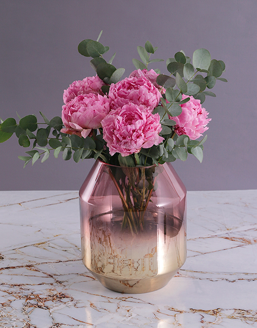 luxury: Pink Peonies in Gold and Pink Vase!
