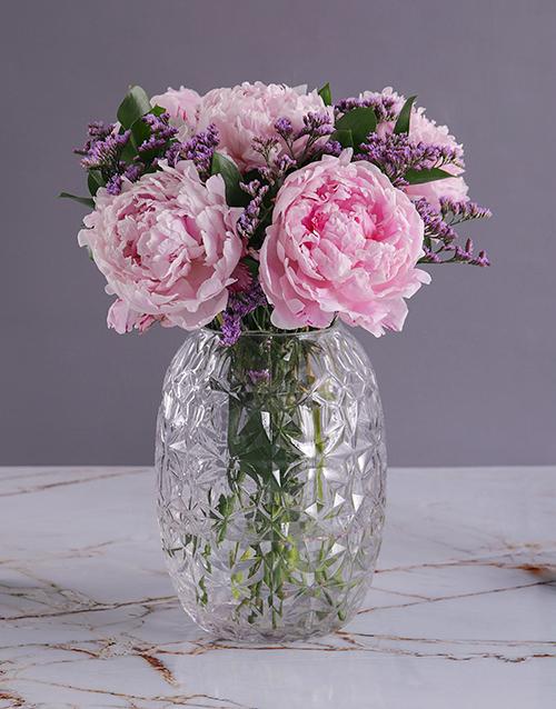 seasonal: Pink Peonies in Diamond Vase!