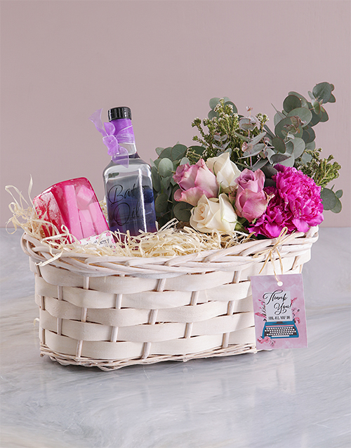 basket: Bath and Floral Thank You Spoil!