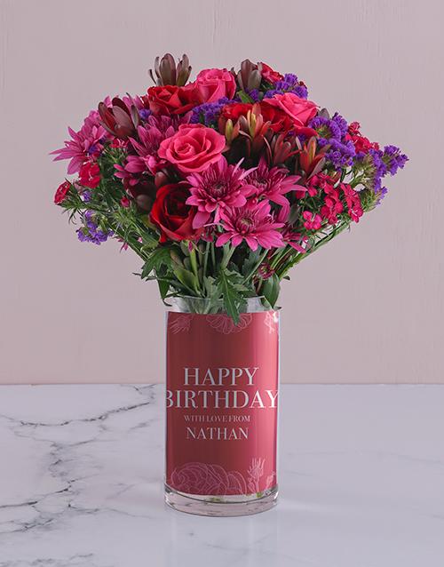 personalised: Personalised Mixed Flowers in Birthday Photo Vase!