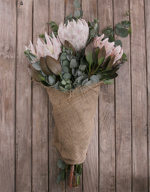flowers: King Protea Trio Wrapped in Hessian!