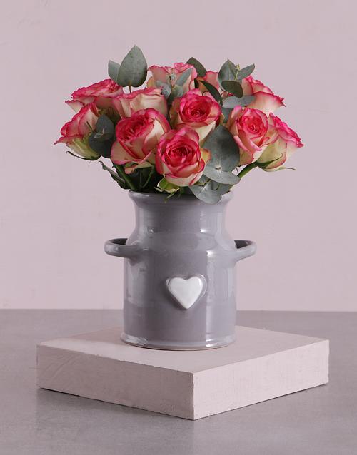 roses: Pink Roses in Ceramic Heart Jug!