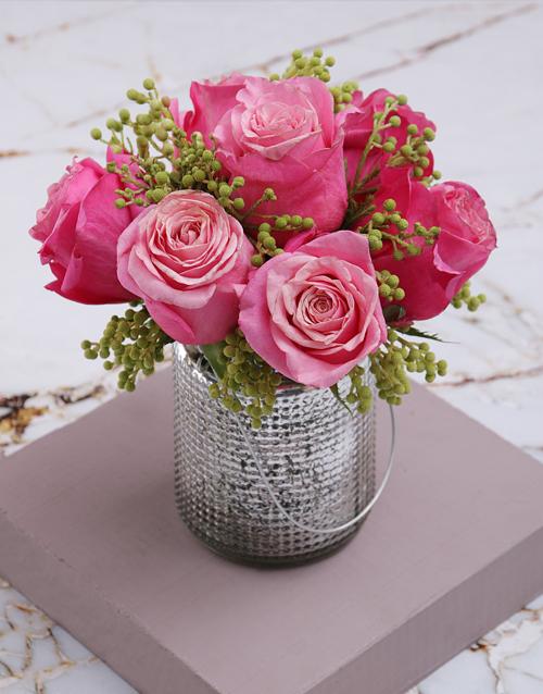 flowers: Cerise Roses In Silver Metallic Vase!