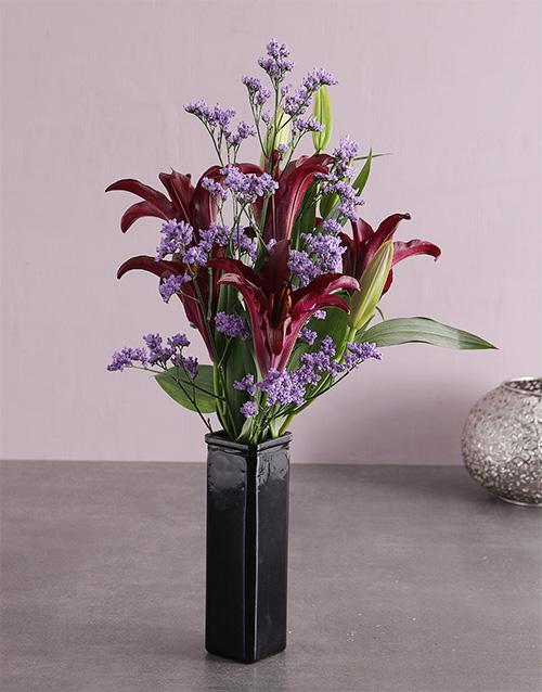 vase: Purple Enchant Lily Blossoms!