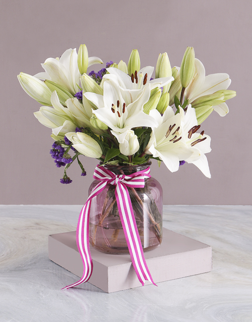 birthday: Pure White Lilies in Pink Vase!