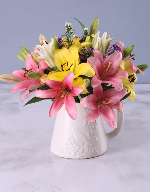 anniversary: Pretty Lilies In Birdie Jug!