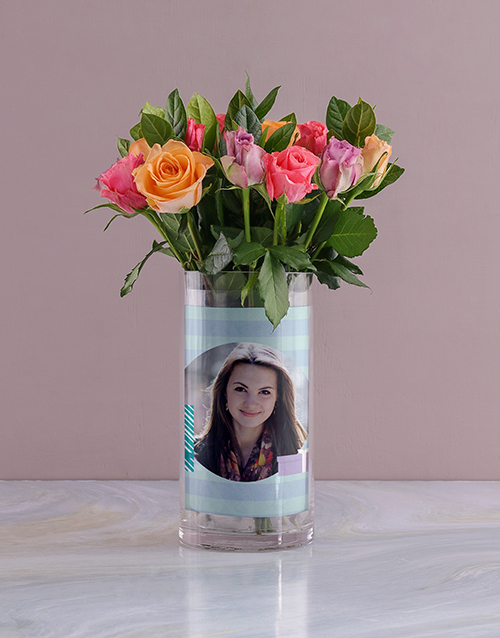personalised: Personalised Roses in All About You Photo Vase!