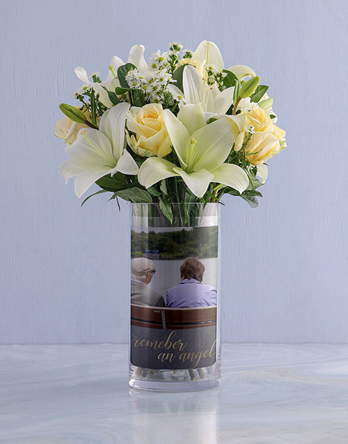 colour: Personalised White Flowers in Sympathy Photo Vase!