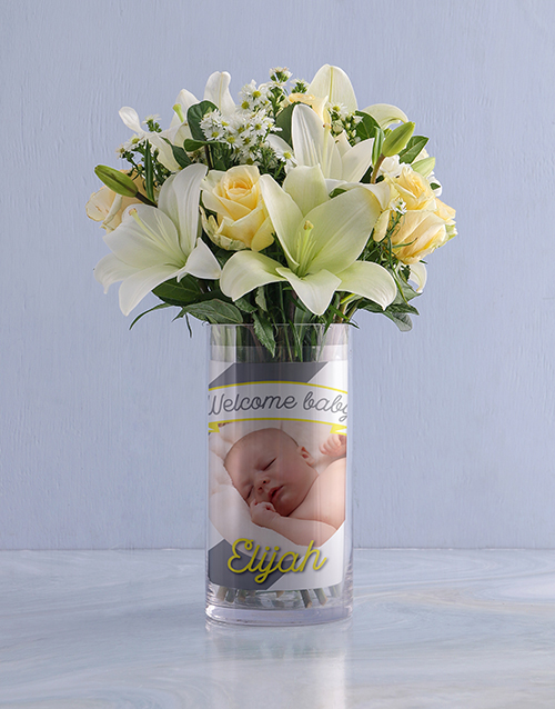 colour: Personalised White Flowers in Welcome Photo Vase!