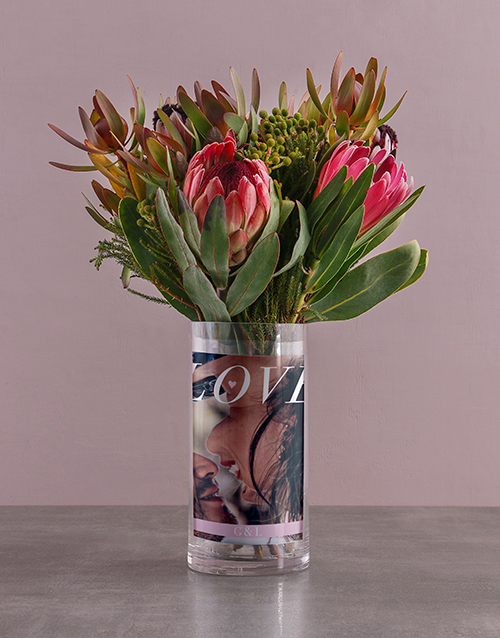 flowers: Personalised Mixed Proteas in Love Photo Vase!