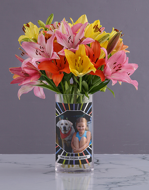 personalised: Personalised Lilies in Colourful Photo Vase!