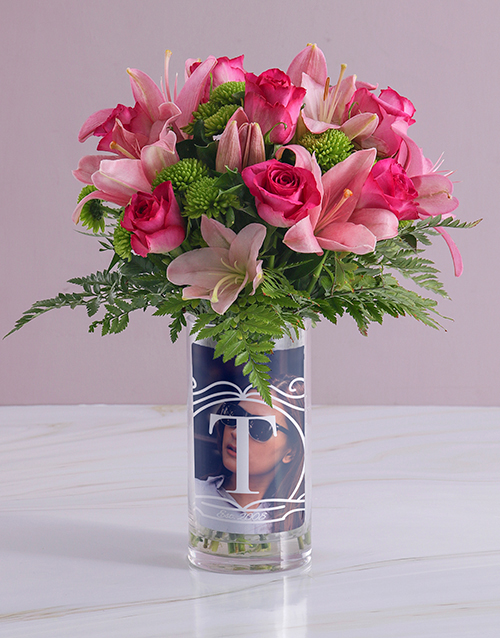 vase: Personalised Pink Flowers in Initial Photo Vase!