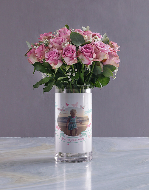 colour: Personalised Pastel Roses in Butterfly Photo Vase!