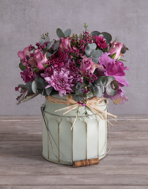 flowers: Lilac Roses In A Garden Bucket!